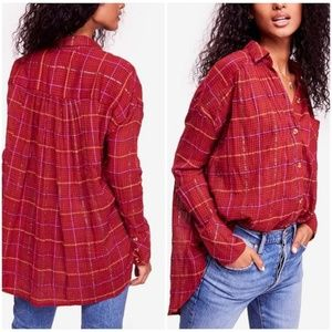 Free People Break My Stride Metallic Plaid Shirt